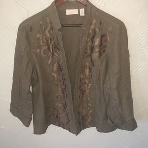 🌼SALE🌼 Chico's Army Green Embroidered Jacket